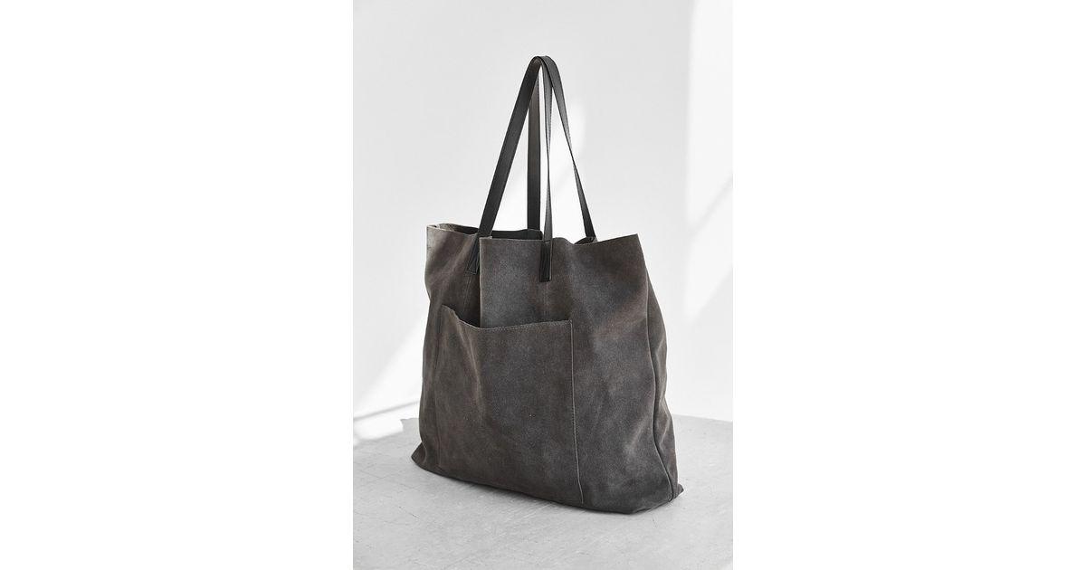 Lyst Bdg Suede Pocket Tote Bag In Gray