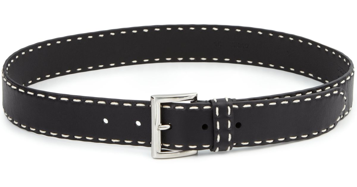 Prada Contrast-stitched Leather Belt in Black | Lyst