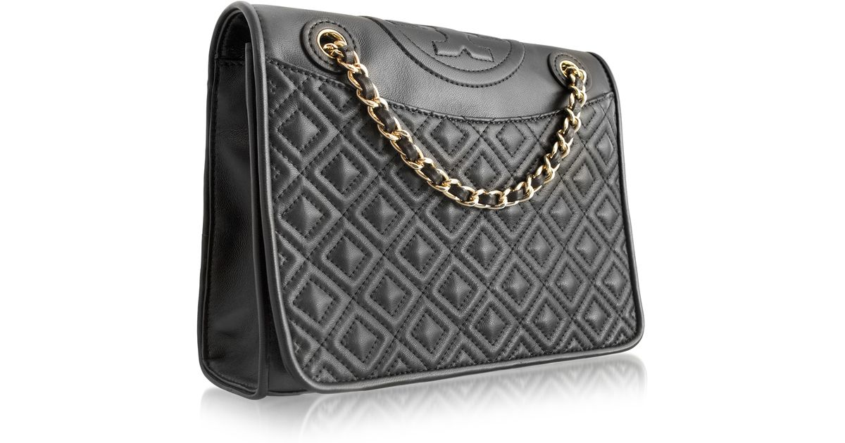 0ea816974017 Lyst - Tory Burch Fleming Medium Quilted Smooth Leather Bag W Chain in Black
