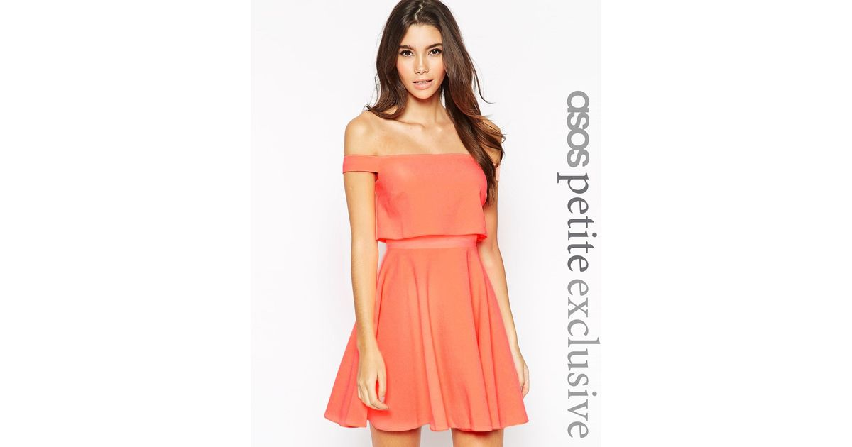 5c9a90e1a3f551 Lyst - ASOS Skater Dress With Bardot Top In Crepe in Orange