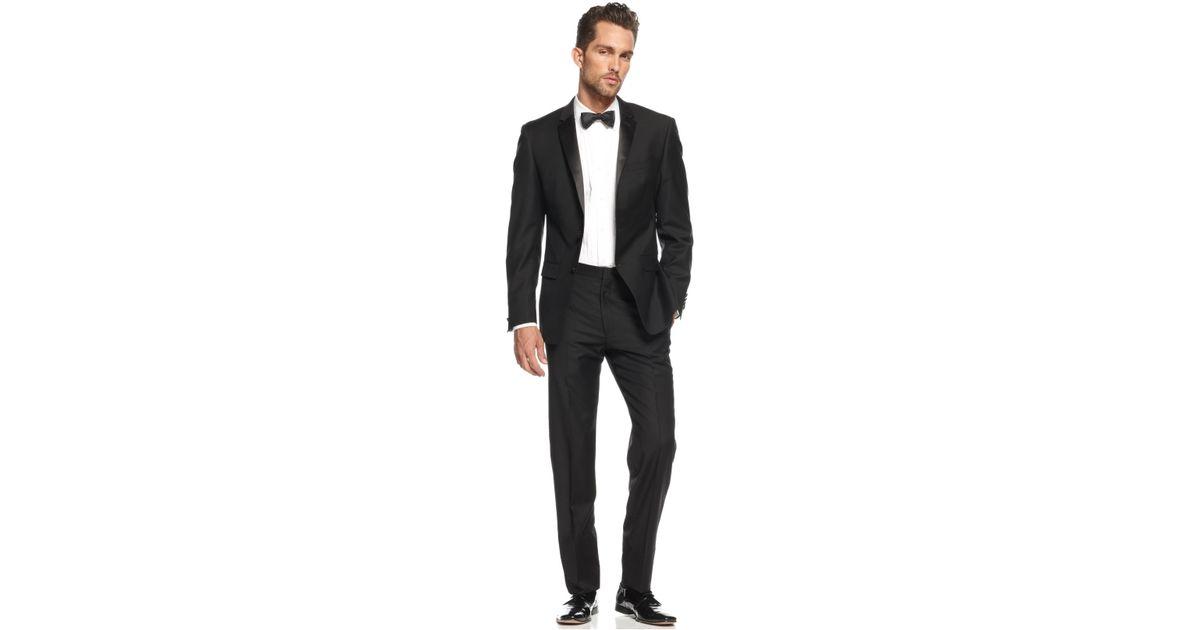 Dkny extra slim fit black tuxedo in black for men lyst for Extra slim tuxedo shirt