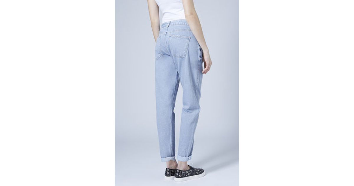 4bc9c08ae9212 TOPSHOP Maternity Moto Bleach Mom Jeans in Blue - Lyst