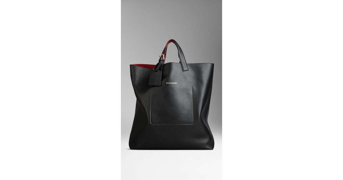 d309d825db Burberry Large Bonded Leather Portrait Tote Bag in Black - Lyst