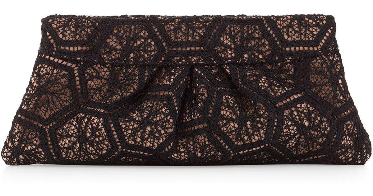 Lyst Lauren Merkin Venise Crochet Lace Clutch Bag In Black