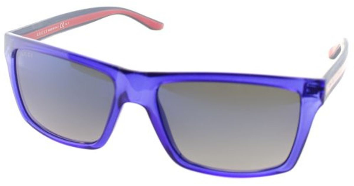 91055083f7871 Lyst - Gucci Gg 1013 Cls Transparent Blue Rectangle Plastic Sunglasses in  Blue