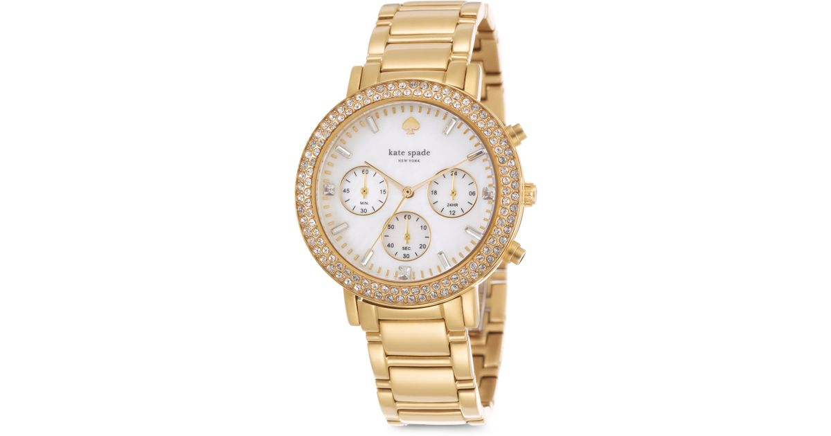 Lyst Kate Spade New York Gramercy Grand Pave Goldtone Stainless Steel Chronograph Bracelet Watch In Metallic