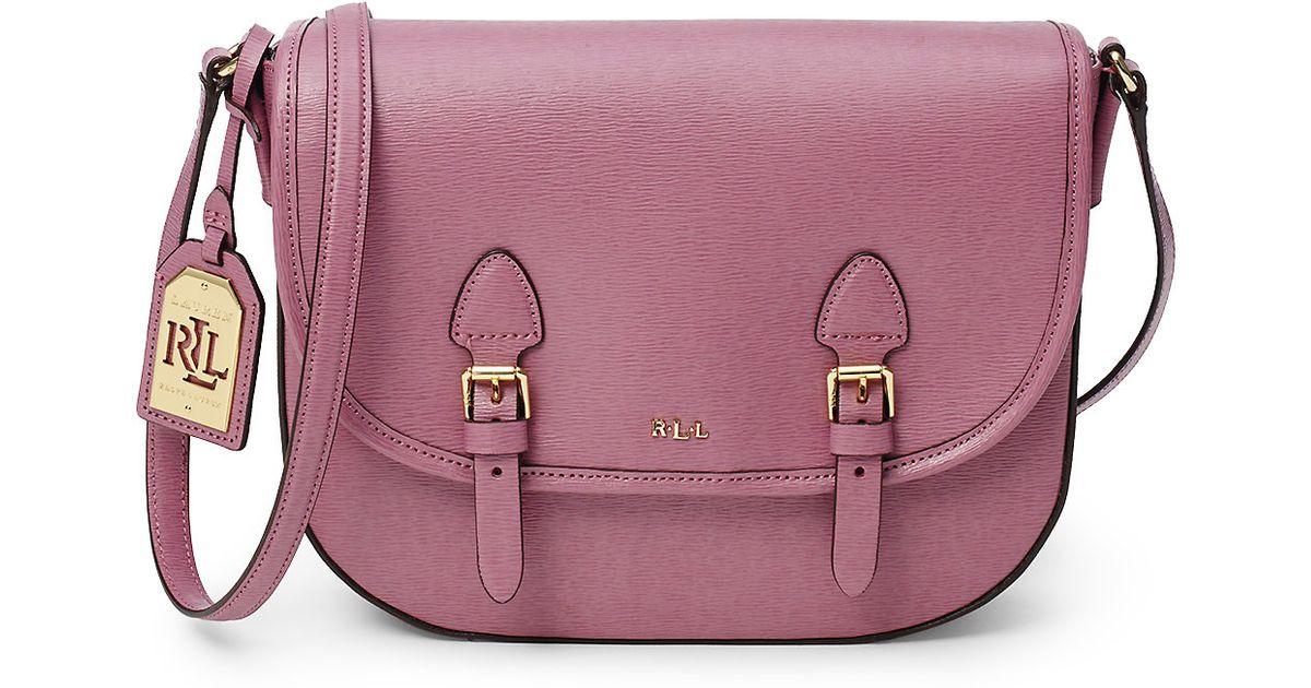 b0e047f5a91b Lyst - Ralph Lauren Tate Leather Messenger Bag in Pink