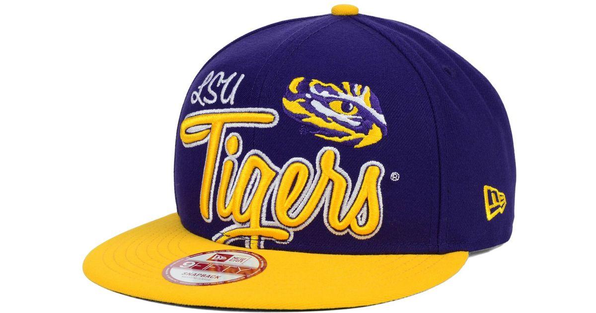 the latest c6c68 fb7fa official store lyst ktz lsu tigers team script 9fifty snapback cap in  purple for men d7e69