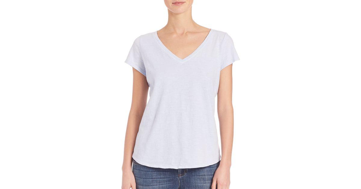 Eileen fisher slubby organic cotton tee in blue lyst for Eileen fisher organic cotton t shirt