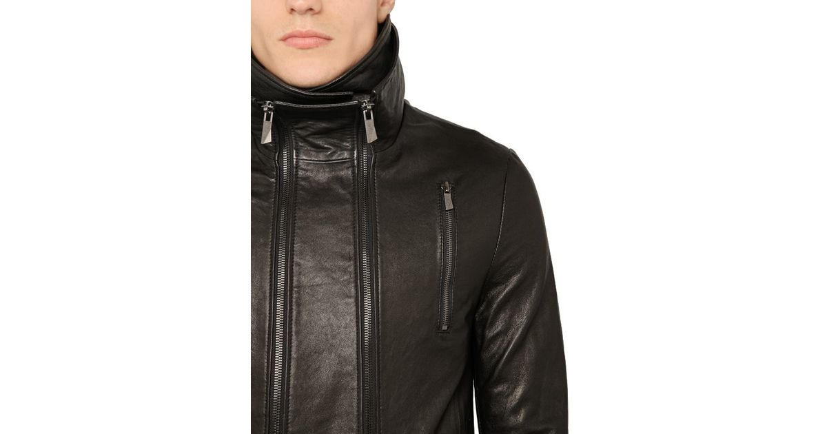 D Gnak High Collar Leather Biker Jacket In Black For Men