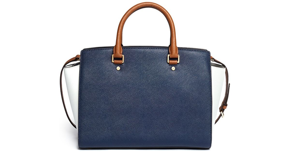 Lyst - Michael Kors  selma  Large Saffiano Leather Satchel in Blue 39f146bbb