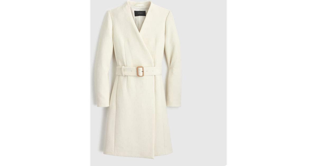 J Crew Petite Collection Collarless V Neck Wrap Coat In