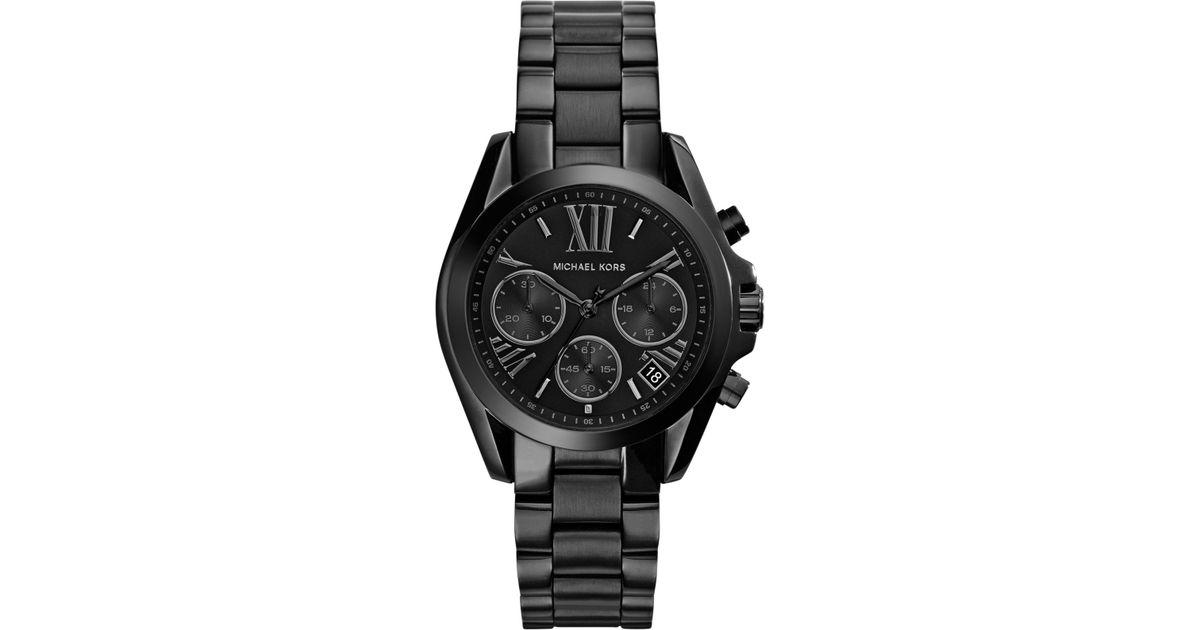 e6c09fef6b6 Michael Kors Women'S Chronograph Mini Bradshaw Black Ion-Plated Stainless  Steel Bracelet Watch 36Mm Mk6058 in Black - Lyst