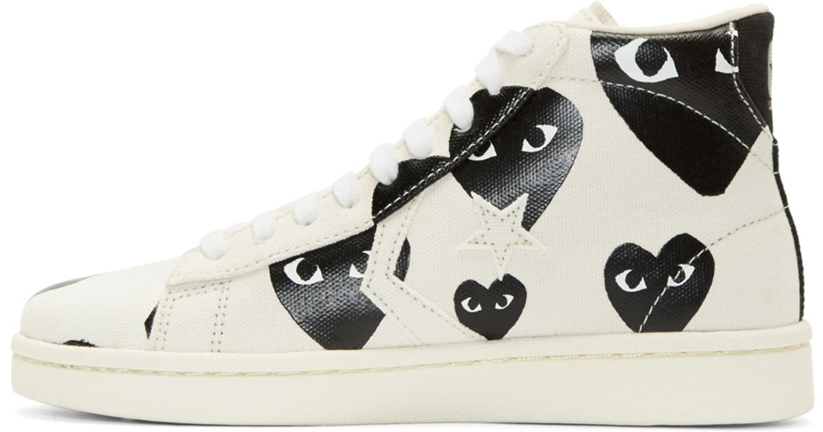 cee9ae7515e7 Lyst - Play Comme des Garçons White Heart Print Converse Edition High top Sneakers  in White for Men