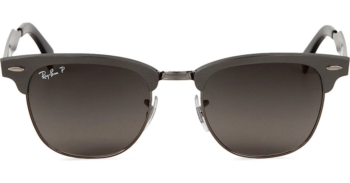 cb2be6243d75 Ray-Ban Clubmaster Aluminium Sunglasses With Black Polarised Lenses Rb3507  51 in Metallic - Lyst
