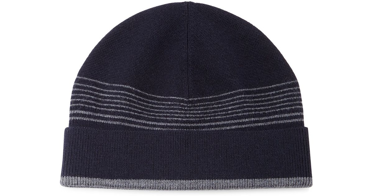 a99db8b12ab Lyst - Theory Striped Wool Beanie Hat in Blue for Men