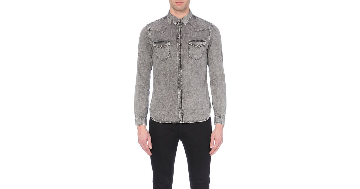 cc7ee42862 The Kooples Sport Stonewashed Western Denim Shirt - For Men in Gray for Men  - Lyst