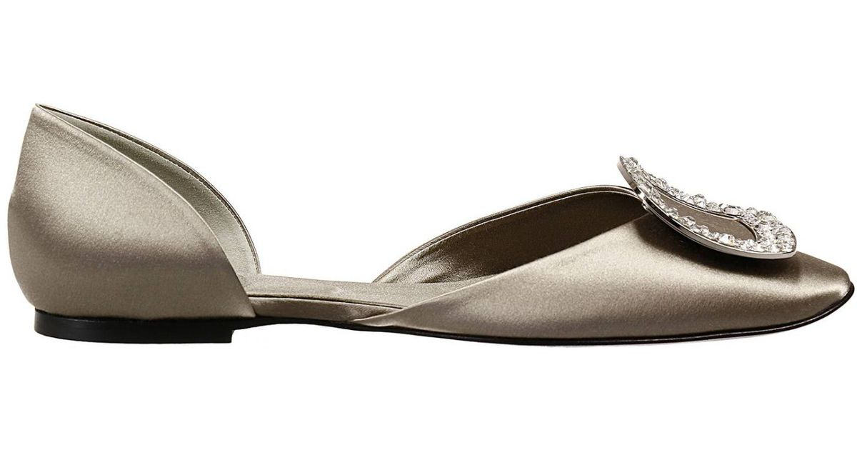 12189bfd7 Lyst - Roger Vivier Flat Shoes Satin Rhinestone Ballerina Shoes in Metallic