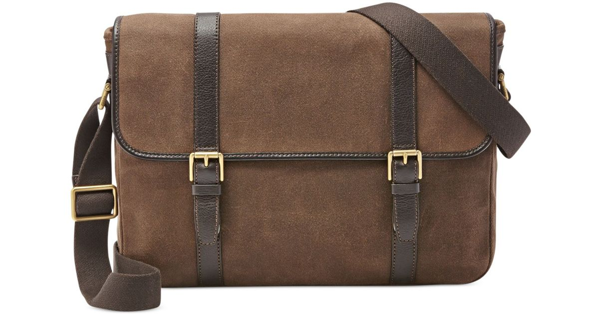 86d4fc7ffa Fossil Estate East West Calvary Twill Messenger Bag in Brown for Men - Lyst