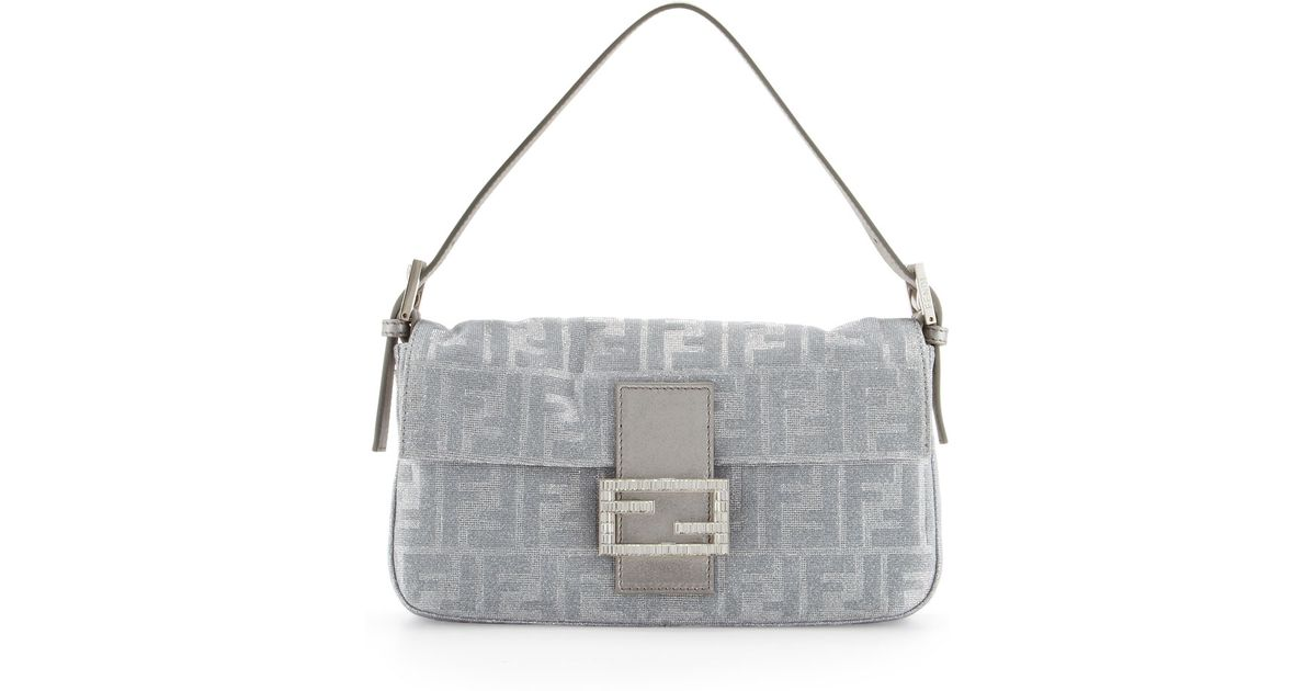 ee27b09a385a Fendi Shimmery Jacquard Baguette Bag in Metallic - Lyst