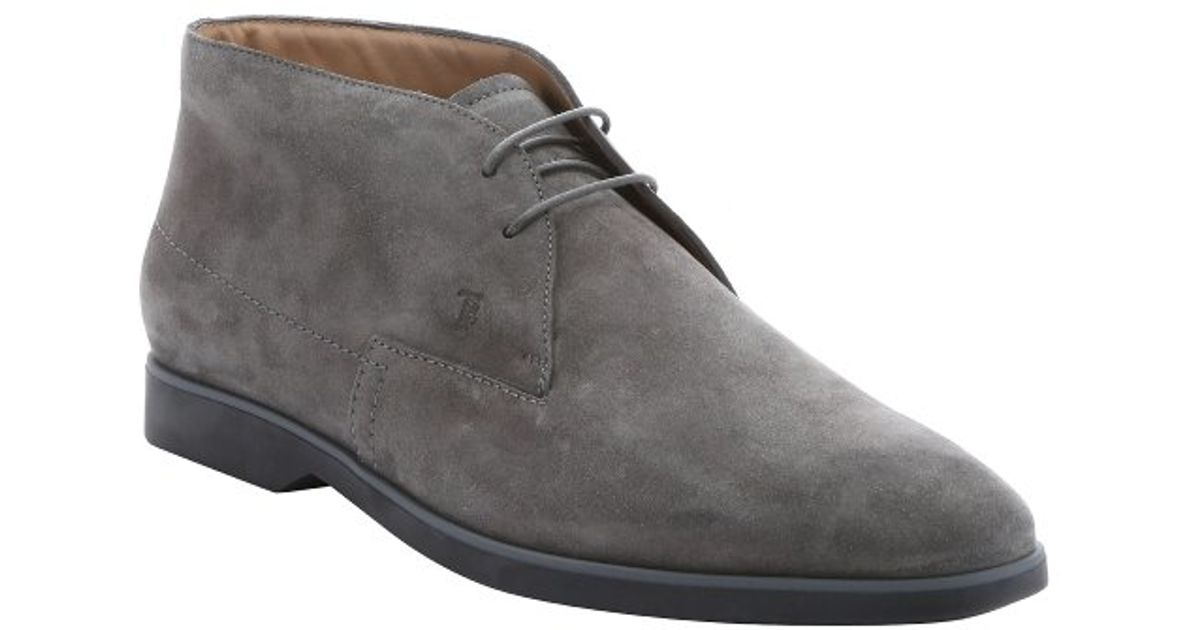 tod s lead grey suede lace up chukka boots in gray for