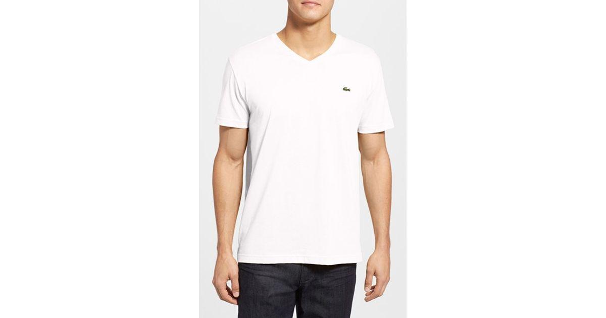 lacoste pima cotton jersey v neck t shirt in white for men. Black Bedroom Furniture Sets. Home Design Ideas