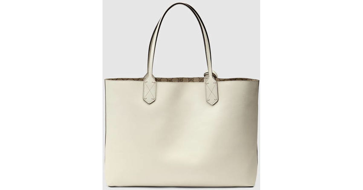e92b62396096 Gucci Reversible Gg Leather Tote in White - Lyst