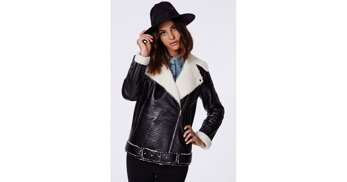 116463c64 Missguided - Coco Faux Leather Shearling Jacket Black - Lyst