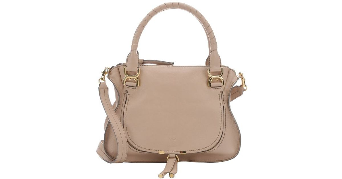 8459290bc5d4 Lyst - Chloé Pre-owned  Beige Leather  nude Marcie  Medium Convertible Bag  in Natural