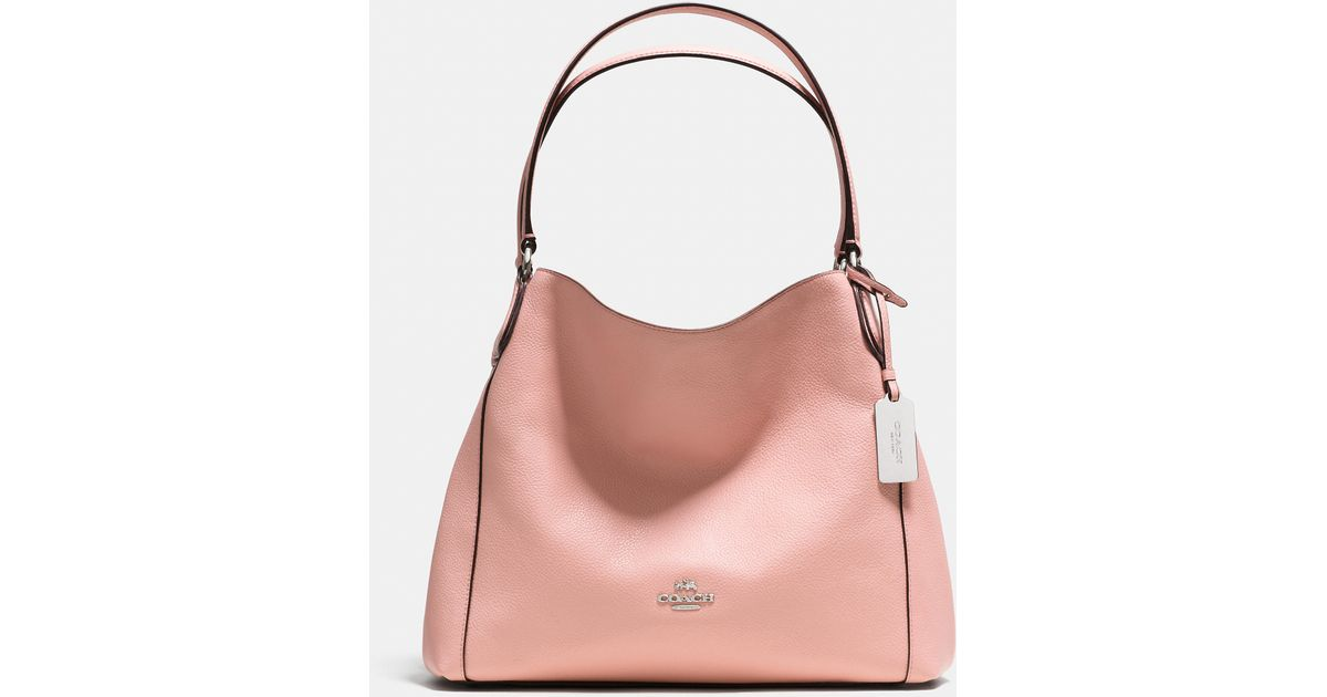 d6aff0e85d Lyst - COACH Edie 31 Pebbled-Leather Shoulder Bag in Pink