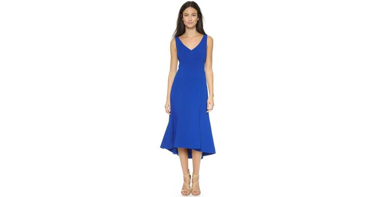 Lyst Black Halo Aiko High Low Dress In Blue