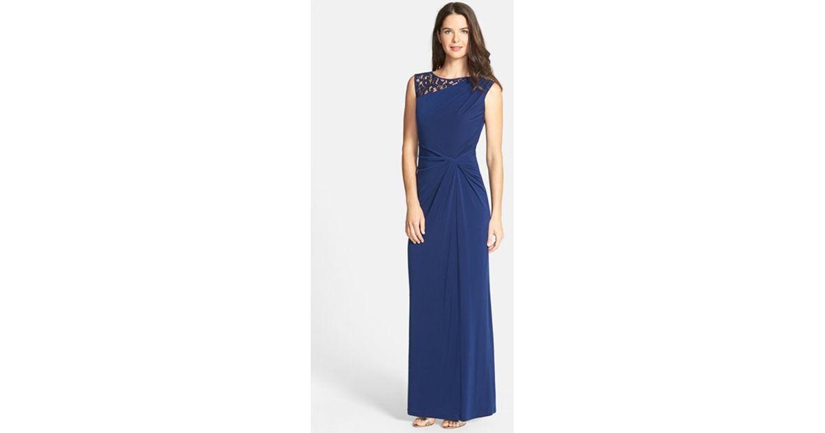 Ellen Tracy Lace Neck Twist Front Jersey Gown In Blue