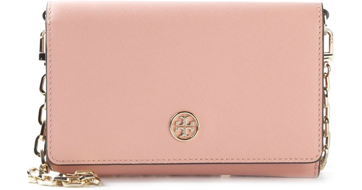 c13f77ea13c1 ... store lyst tory burch robinson chain wallet bag in pink 7d7c2 74438 ...