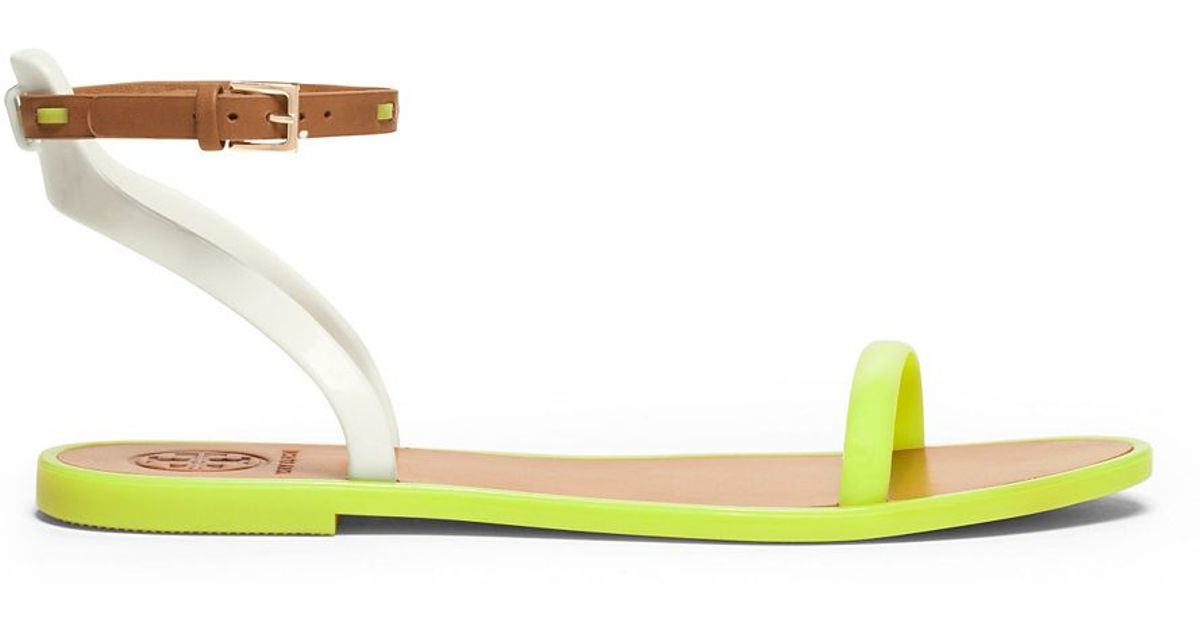 d4b4d804228f Lyst - Tory Burch Leather Ankle-Strap Flat Jelly Sandal in Yellow