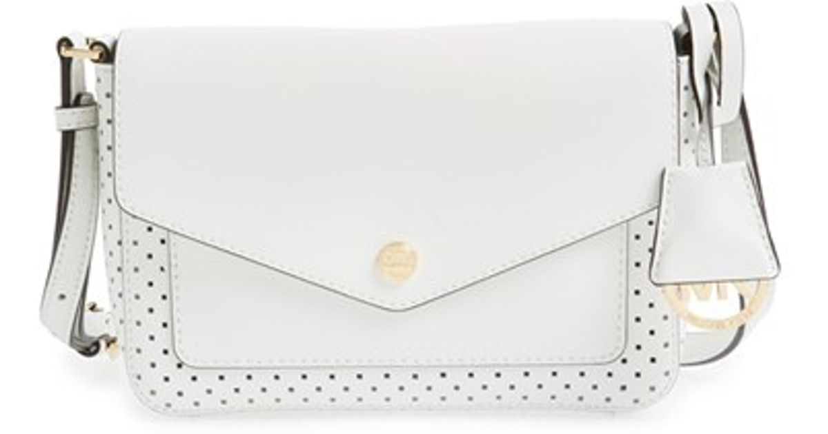 Lyst Michael Kors Small Greenwich Perforated Leather Crossbody Bag In White
