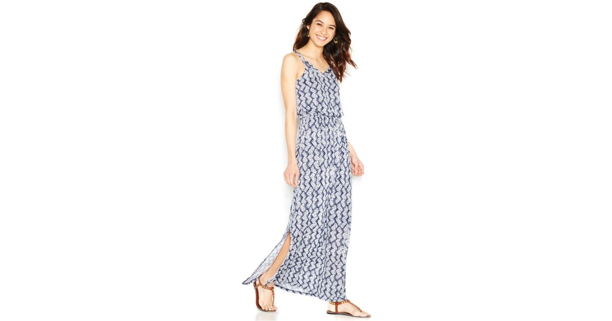 2477d30bdfc Lucky Brand Navy Printed Maxi Dress in Blue - Lyst