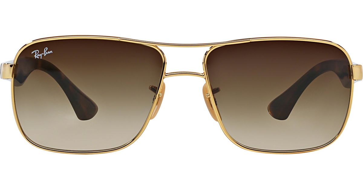 1d85244fa71 Ray-Ban Rb3516 Square Frame Sunglasses in Metallic - Lyst