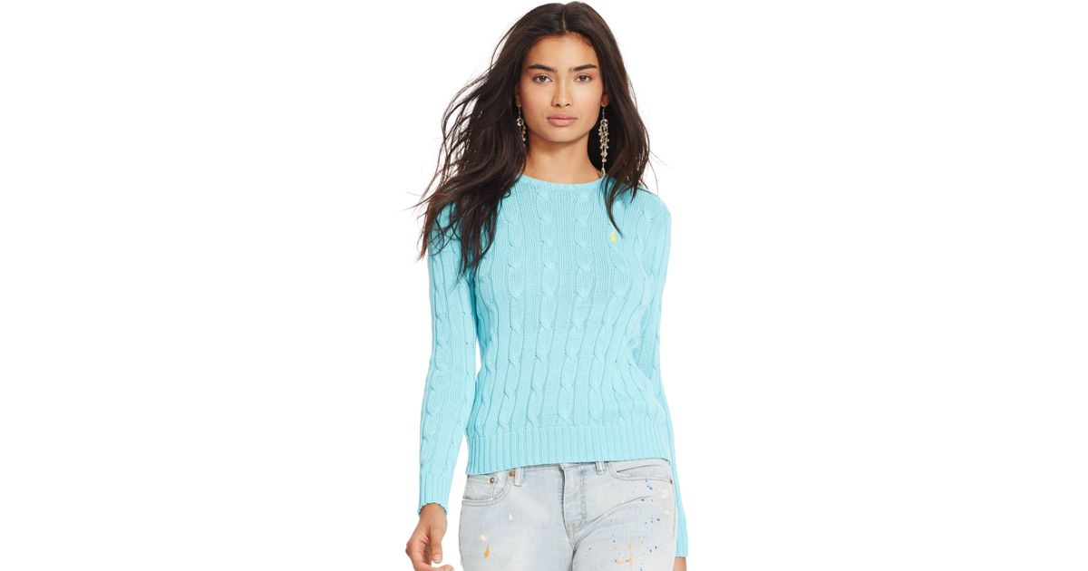 Lyst Polo Ralph Lauren Cable Knit Crewneck Sweater In Blue