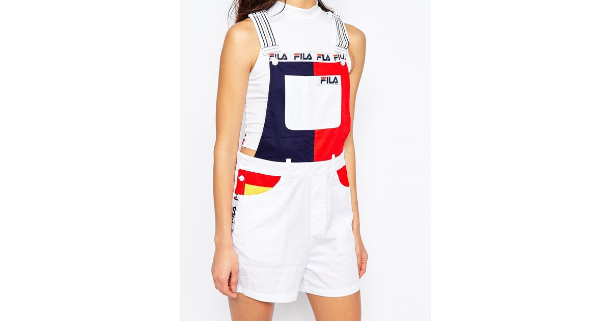 a37750a274e4 Fila Colour Block Dungaree Shorts - Lyst