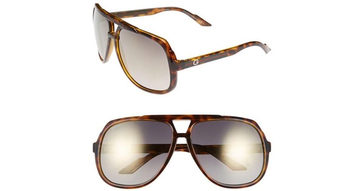 c078b89b8dd Lyst - Gucci Logo Temple 63mm Aviator Sunglasses - Havana  Gold Mirror in  Brown for Men