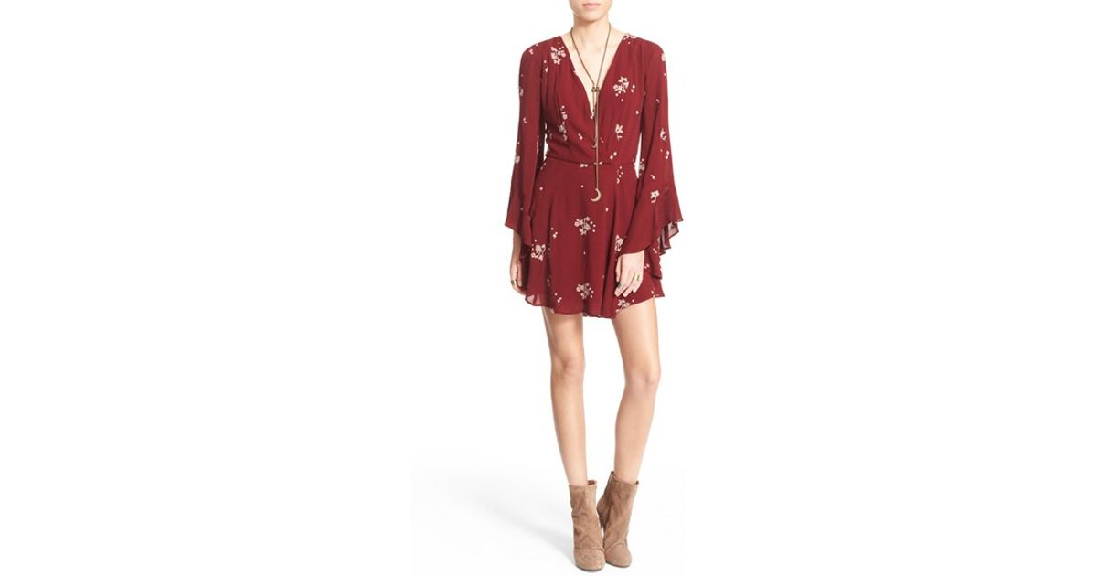 353c933f6d2 Lyst - Free People  jasmine  Embroidered Wrap Front Dress in Red