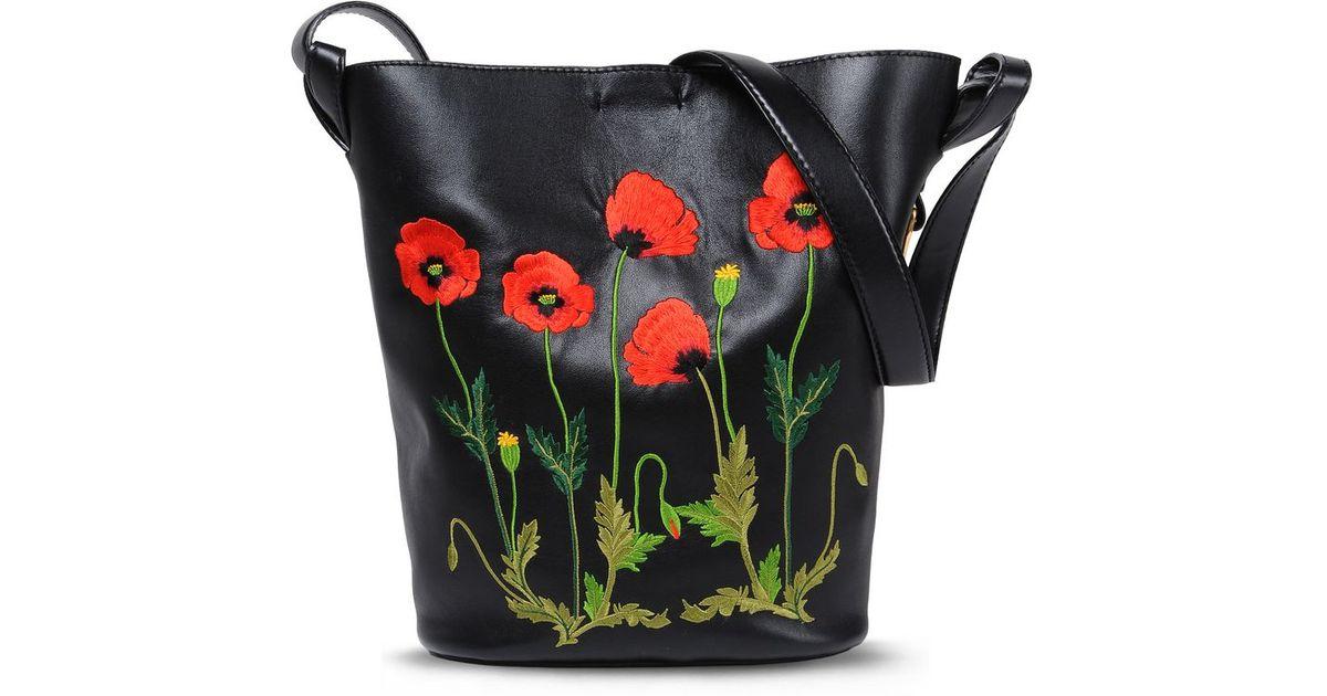 de9da011fde Lyst - Stella McCartney Botanical Embroidered Bucket Bag in Green