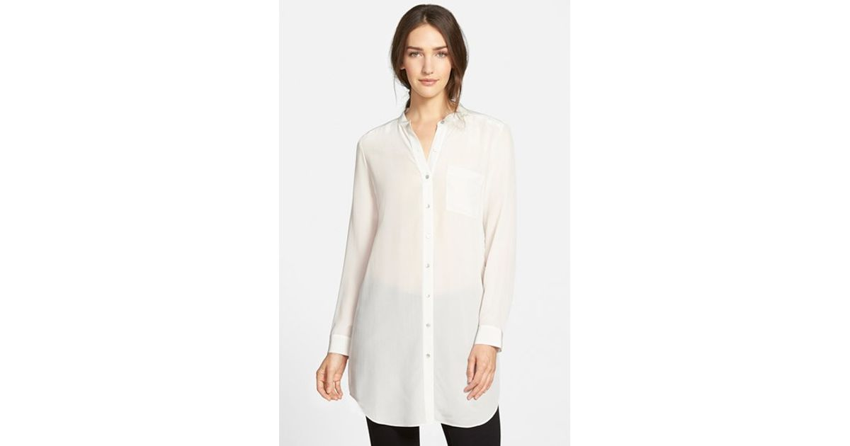 dfb2a7186f9 Eileen Fisher Mandarin Collar Silk Tunic in White - Lyst