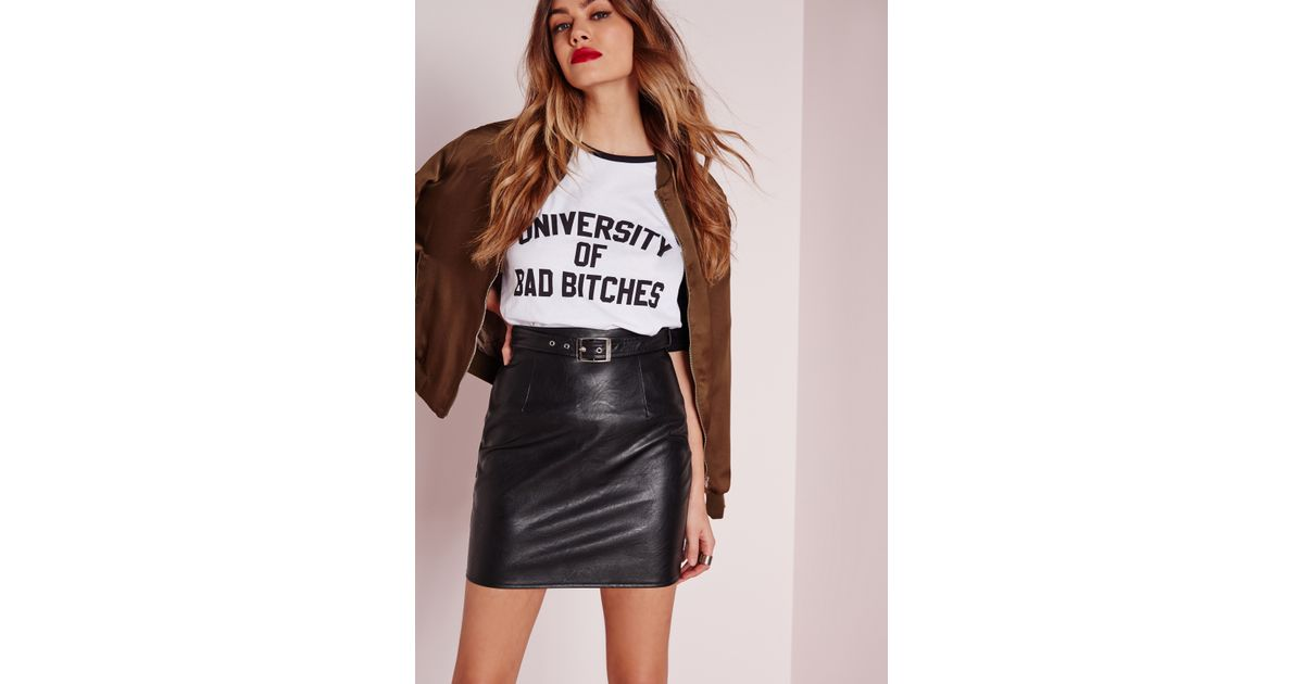 6a32f6ec494fb Missguided Buckle Detail Faux Leather Mini Skirt Black in Black - Lyst