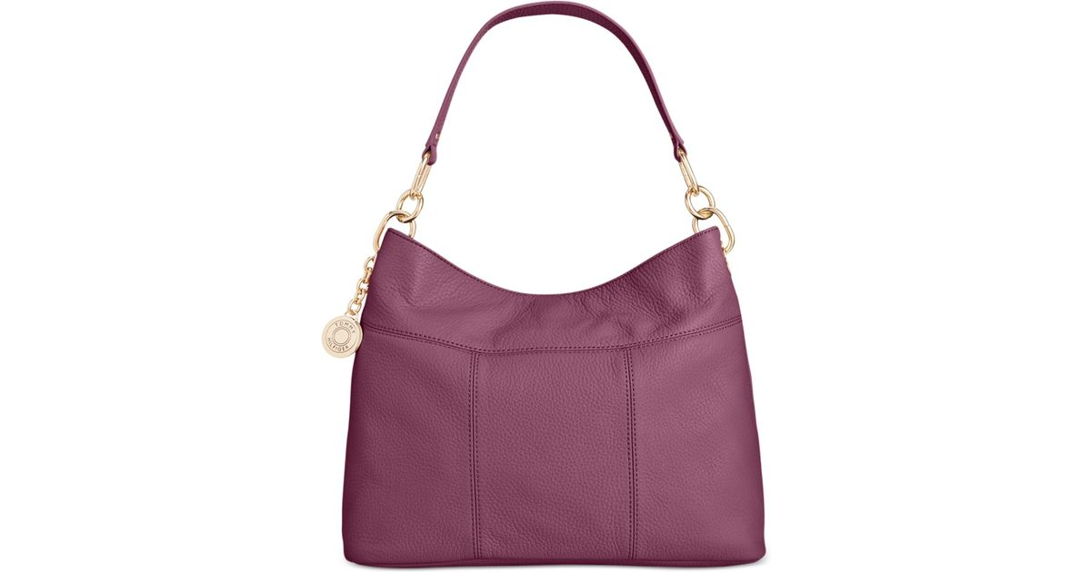 438bbcf3 Lyst - Tommy Hilfiger Th Signature Leather Small Hobo in Purple