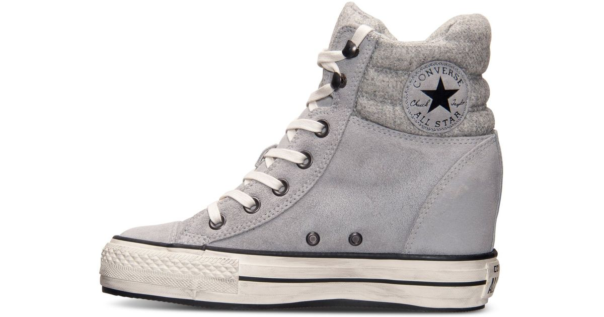 e246d217f7ed23 Lyst - Converse Women S Chuck Taylor All Star Platform Plus Hi Casual  Sneakers From Finish Line in Gray