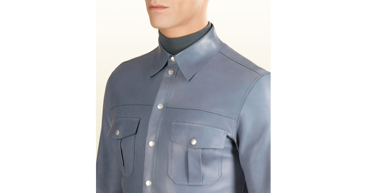 Lyst Gucci Leather Buttondown Shirt In Blue For Men