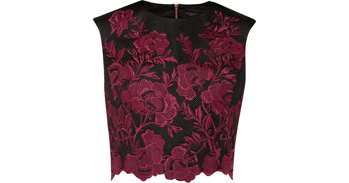 a7a6b6a30ab7f Ted Baker Vynus Embroidered Mesh Lace Top in Red - Lyst