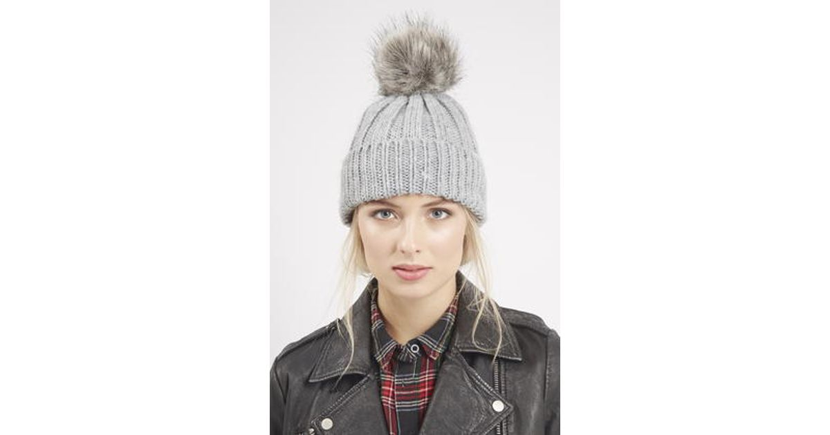 569bf616072 TOPSHOP Faux Fur Pom Beanie Hat in Gray - Lyst