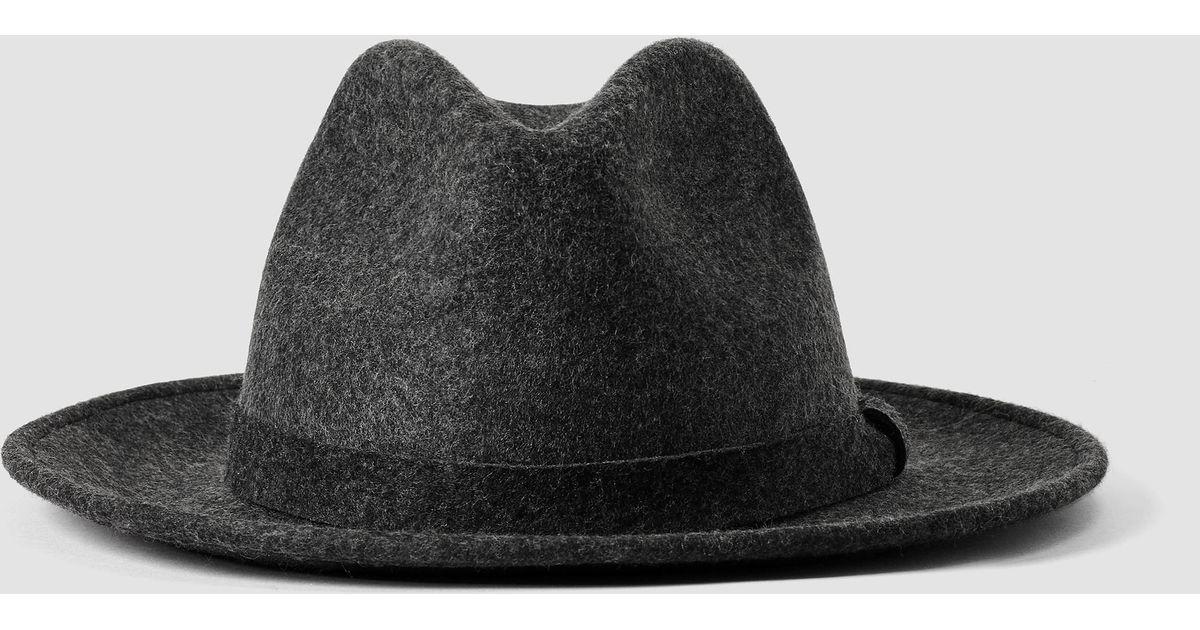 1546dd383e277 AllSaints Bronson Fedora Hat in Gray for Men - Lyst